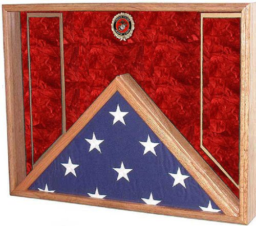 All American Gifts Burial Flag & Military Medal Award Display Case - Shadow Box - for 5x9.5 Burial/Coffin flag (USMC Emblem/Red velvet)
