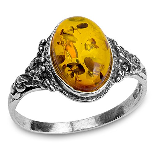 - Amber and Sterling Silver Classic Oval Ring