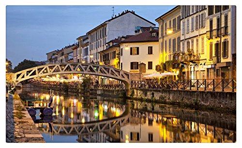 Italy Houses Rivers Bridges Night Milan Cities travel sites Postcard Post card