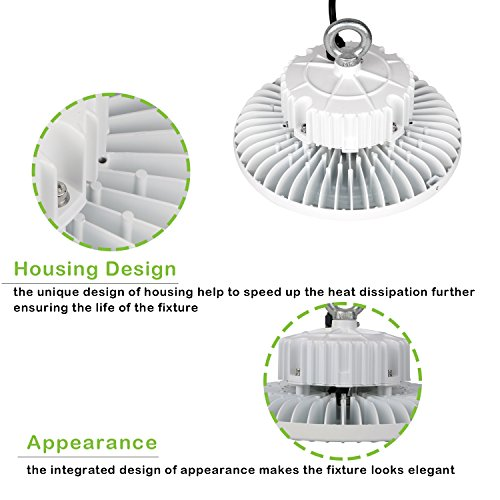 Hykolity 100W White Finish UFO LED High Bay Light Fixture