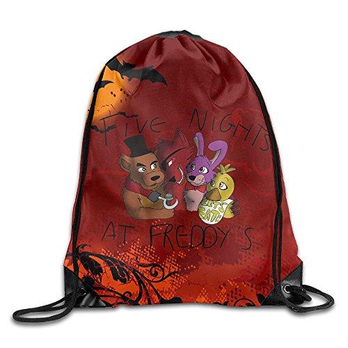 [QiBePlo Five Nights At Freddy's On Halloween Gym Drawstring Backpack Sport Bag] (Halloween Animatronics Sale)