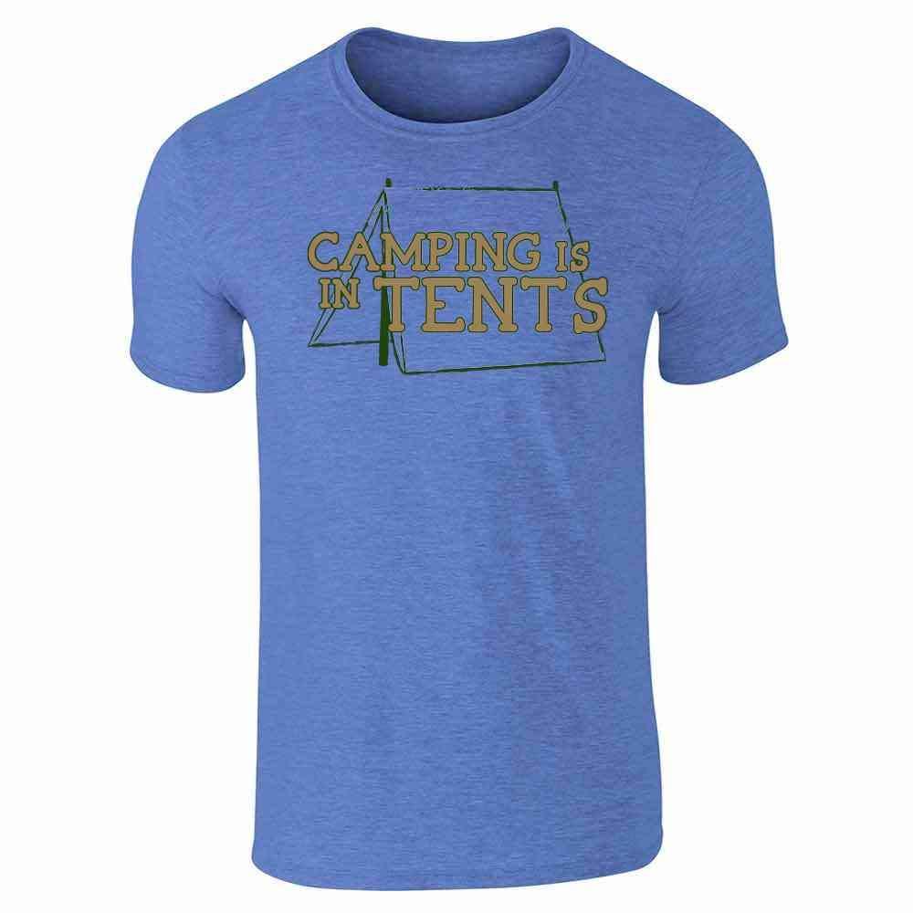 b06bdb45acf4d Pop Threads Camping Is In Tents Heather Royal Blue S Short Sleeve T-Shirt |  Amazon.com