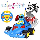 Flyglobal Cartoon Remote Control Car Toddler, RC Race Car Train Toy for Kids, Radio Control Car with...