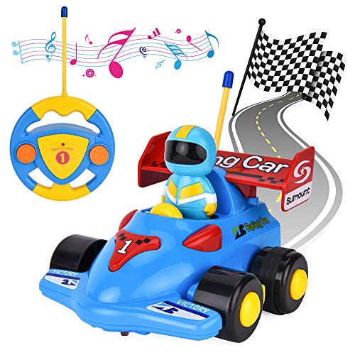 (Flyglobal Cartoon Remote Control Car Toddler, RC Race Car Train Toy for Kids, Radio Control Car with Music for Baby Toddlers Kids Blue)