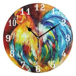 SEULIFE Wall Clock Animal Rooster Art, Silent Non Ticking Clock for Kitchen Living Room Bedroom Home Artwork Gift