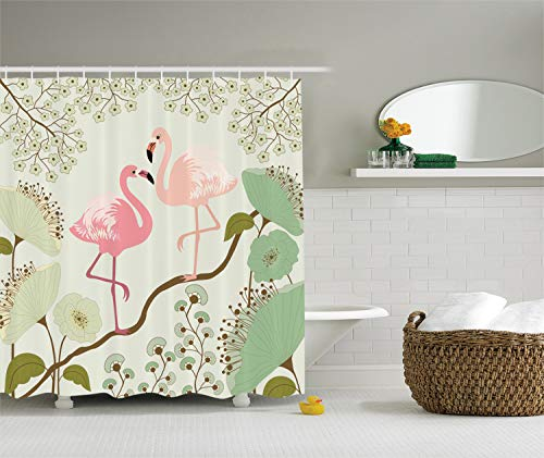 Ambesonne Wildlife Decor Collection, Blossom Floral Background with Pair of Flamingos Painting, Polyester Fabric Bathroom Shower Curtain Set with Hooks, 84 Inches Extra Long, Teal Pink Beige