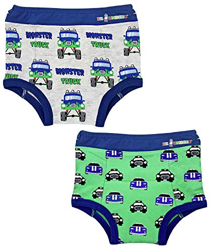 Ez Undeez Toddler Boys Potty Training Pants with Padded Liner (3T, Monster Trucks-Cars) -
