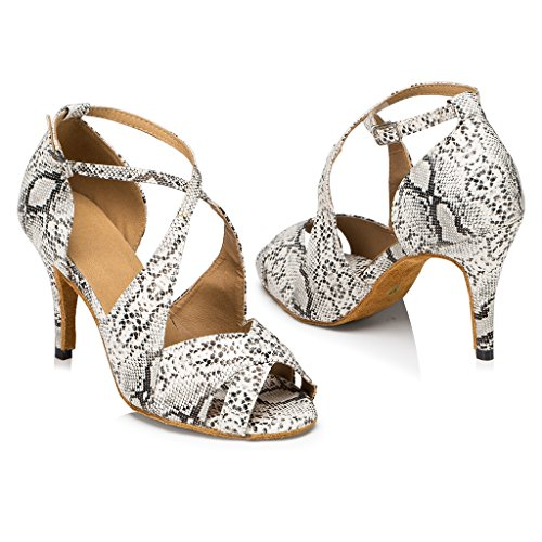 CRC Womens Stylish Peep Toe Silver Snake PU Leather Cross Strap Style Ballroom Morden Salsa Latin Party Wedding Professional Dance Sandals Silver HZnVvVse