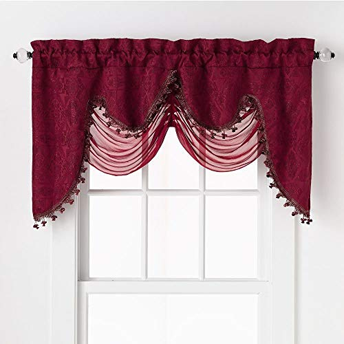 Swags Treatments Window (GoodGram Ultra Elegant Clipped Jacquard Georgette Fringed Window Valance with an Attached Sheer Swag Assorted Colors (Burgundy))