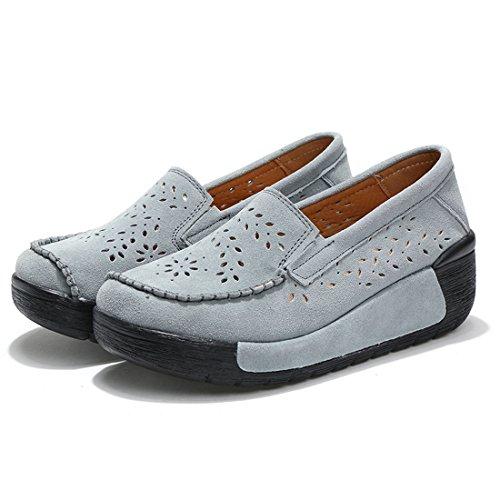 Moda Z Pelle SUO Grigio Guida Mocassini Scamosciata Donna da Scarpe comode Loafers in 4 UYUR4
