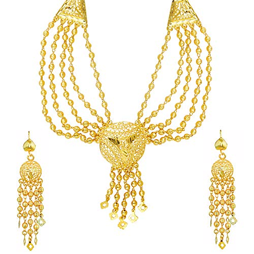 bodha 22K Gold Plated Traditional Indian Bollywood Necklace Jewellery Set for Women (SJ_2644) ()