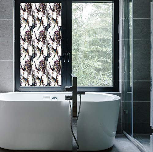YOLIYANA The Visual Effect of Textured Glass and Stained Glass,Watercolor,is Good for Long Year Under The Sunshine,Lilly Flower Pattern with Flying Birds Fauna - Glass Stained Lilly