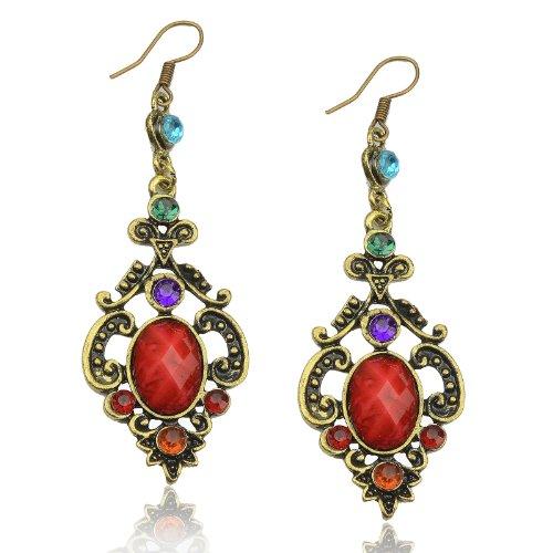Vintage Retro Copper CZ Rhinestone Resin Eardrop Hook Dangle Earrings