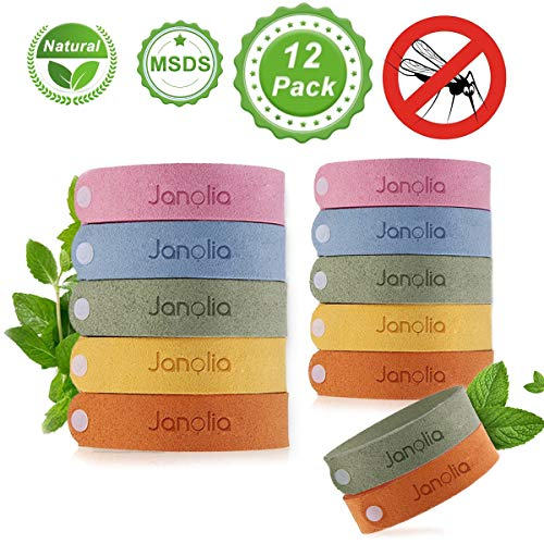 (Janolia 12 Pcs Natural Citronella Bracelet, DEET-Free Non-Toxic for Indoor Outdoor, Adjustable for Adult and Kids, Perfect for Camping, Hiking, Travelling)