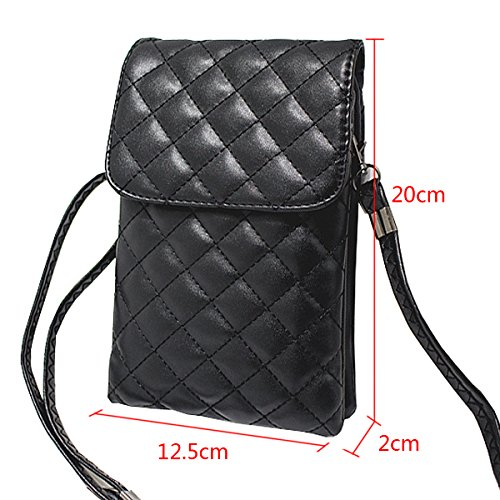 With Cellphone Pu Crossbody Stylish Girl Women Strap Mini Leather Adjustable Black Pouch Bag Plaid Haute La Purse xtOPSwRq