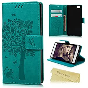 Huawei P8 Lite Funda Libro de Suave PU Leather Cuero Impresión - Maviss Diary Carcasa Con Flip case cover,Cierre Magnético,Función de ...