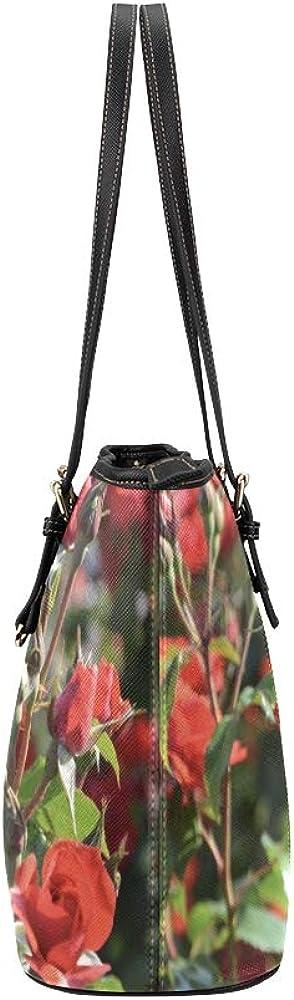 Men Handbags Red Rose Rosebuds Rosebush Flower Petals Garden Leather Hand Totes Bag Causal Handbags Zipped Shoulder Organizer For Lady Girls Womens Womens Purses And Handbags
