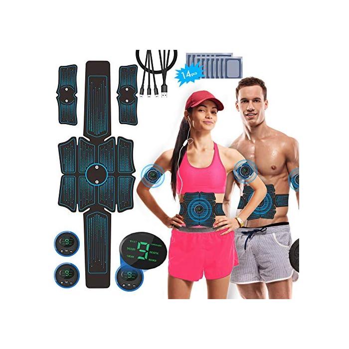 51t85l7q4oL Estimulador Muscular Abdominales Recargable - nuestro nuevo controlador cuenta con una batería incorporada de 200 mAh que le permite recargarlo en cualquier momento. Configuración Adaptable - con 6 programas que proporcionan diferentes frecuencias de impulsos y modos de funcionamiento para adaptarse a las diferentes partes del cuerpo. Cada programa tiene 10 niveles de intensidad para satisfacer todas las necesidades de entrenamiento muscular. Entrenamiento de Abdominales Reforzado - el electroestimulador muscular está diseñado para adaptarse a las curvas naturales de la cintura y el abdomen. Tonifica ambas partes al mismo tiempo, logrando un entrenamiento muscular rápido.