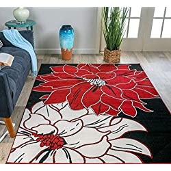 Rugshop Design Large Floral Area Rug, 5' x 7', Red