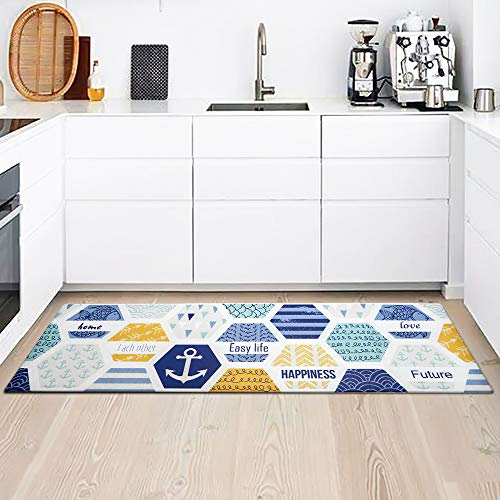 Kitchen Rug Mat, Standing Anti Fatigue Comfort Flooring Door Mat with Non-Slip Rubber Back, Oil Proof Floor Mat and Easy to Clean