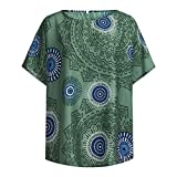 Short Sleeve Tee Blouse for Women,Amiley Womens Loose Boho Printed Round Neck Casual Tops Pullover Short Sleeve T Shirts (X-Large, Green)