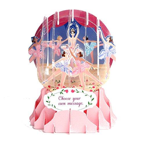 Flat Card Ballerina (3d Snow Globe - Prima Ballerina - All Occasion Card)