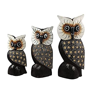 Set of 3 Hand Carved Dot Painted Wooden Owls