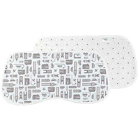 Linen Lattice//Linen Mini Print Ben /& Noa Percale Burp Pads 2-Pack