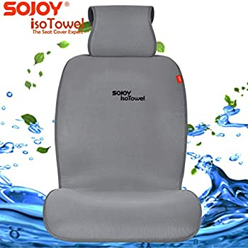 Sojoy IsoTowel Car Seat Cover. Microfiber Seat Protector, with Quick-Dry, No-Slip Technology. Car seat Protection for All Workouts, All-Weather (Dark Gray)