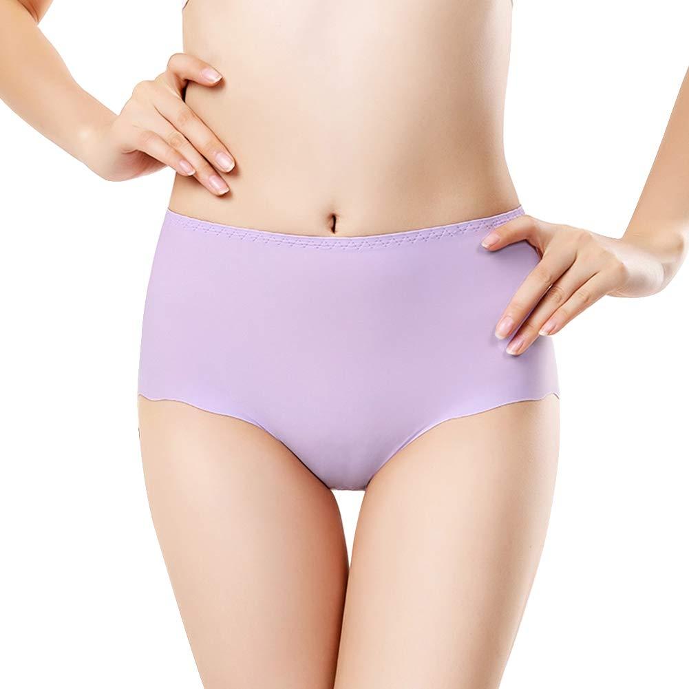 Forart Women's Seamless Ice Silk Panties Mid Waist Stretch Briefs Underwear
