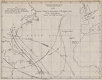 Amazoncom ATLANTIC OCEAN Agonic Line Change Magnetic - Us declination map