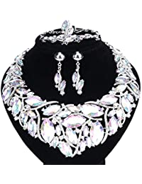 Bridal Costume Jewelry Sets Crystal Choker Necklace...