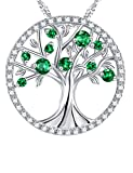 The Tree of Life Necklace Created Emerald Sterling Silver Jewelry Birthday Gift for Her