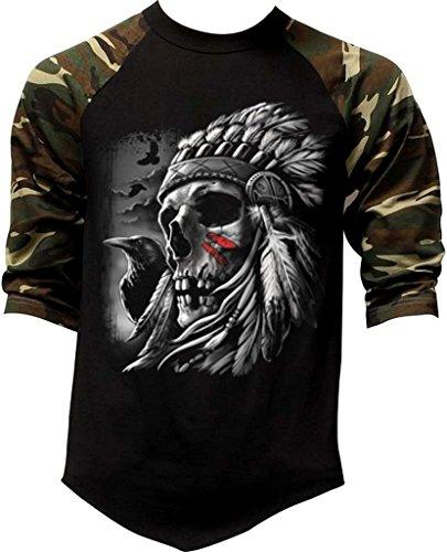 Men's Indian Chief Skull with Crow Tee Black/Camo Raglan Baseball T-Shirt X-Large Black/Camo (Black Crow Clothing)