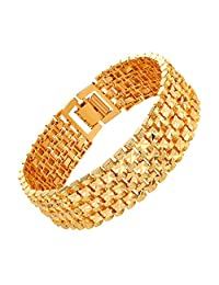 21cm Gold/Platinum Plated Carving Bracelet Wristband Men&Women Cuff Bangle Link Bracelet