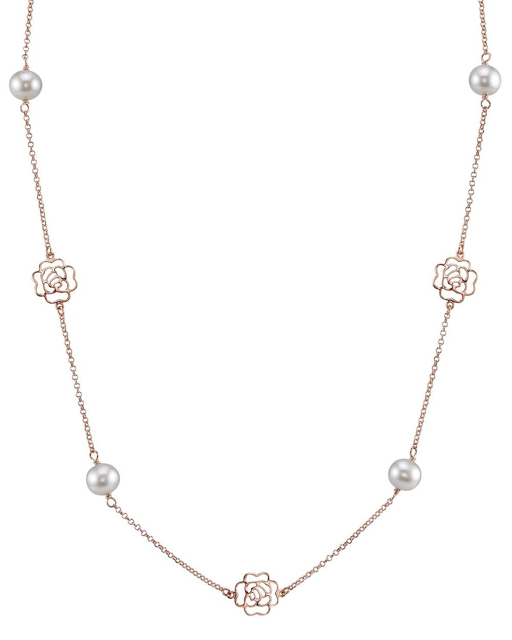 7-8mm Genuine White Freshwater Cultured Pearl Rose Gold Fiona Necklace for Women