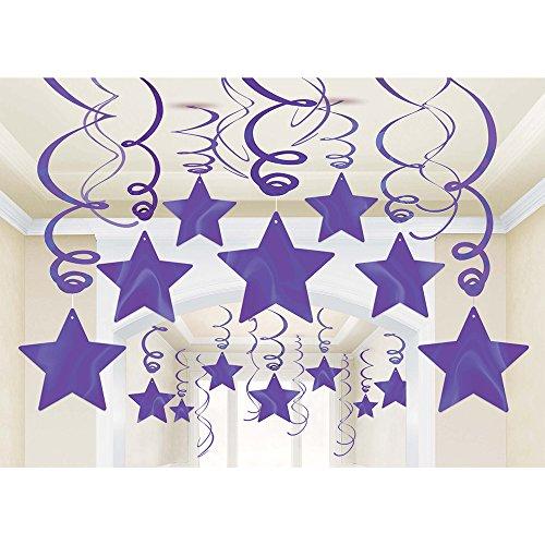 Purple Star Swirl Decorations -