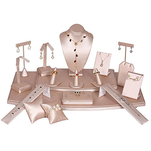 (Pink Leather Jewelry Necklace/Watch/Bracelet/Earring/Ring Display Set ~ 18 Piece Set)