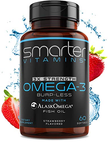 SmarterVitamins Omega 3 Fish Oil, Strawberry Flavor, Burpless, Tasteless, 2000mg, DHA EPA Triple Strength Brain Support, Joint Support, Made with AlaskOmega®, Heart Support