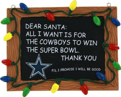 FOCO Dallas Cowboys Resin Chalkboard Sign Ornament Beans Christmas Ornament
