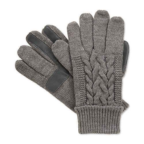 Isotoner Signature Touchscreen Enabled Solid Triple Cable Knit Palm SmarTouch Tech Gloves (Signature Cable Knit)