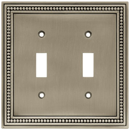 Brainerd 64772 Beaded Double Toggle Switch Wall Plate / Switch Plate / Cover, Brushed Satin Pewter