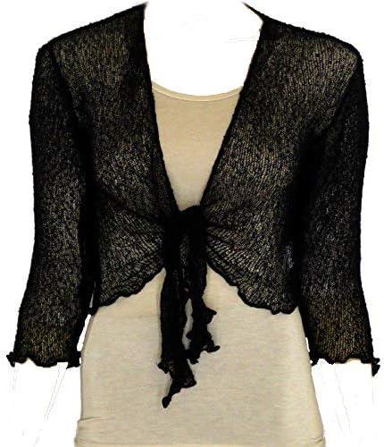 COMMENCER Womens Tie up Long Sleeve Bolero Shrug Club Wear Top