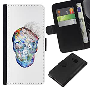 KLONGSHOP // Tirón de la caja Cartera de cuero con ranuras para tarjetas - El polvo de la acuarela blanco del cráneo Esqueleto - HTC One M9 //
