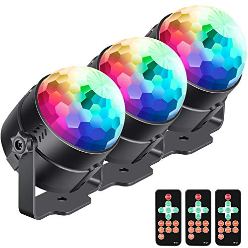 Neewer 3-Pack Stage Light Sound Activated Party Lights with Remote Control, Dj Lighting, RBG Disco Ball, 7 Modes Strobe Lamp for Home Room Dance Parties Birthday DJ Bar Karaoke Xmas -