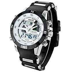 WEIDE Men's Digital Electronic Waterproof LED Sport Watch Casual Quartz Military Multifunction 12H/24H Time Back Light with Simple Design Alarm Stopwatch Calendar Month Date Day Week - Black