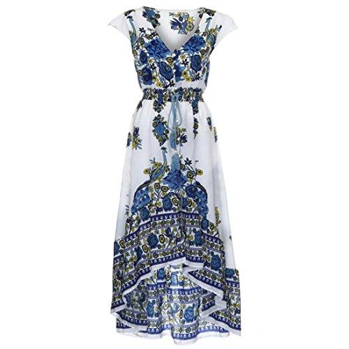 Silk Racerback Dress - Women Print Floral Retro Palace V-Neck Evening Party Dress
