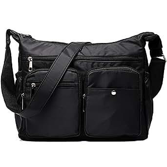 Women Travel Black Crossbody Bag Messenger Bag Lightweight Water Resistant Shoulder Bag