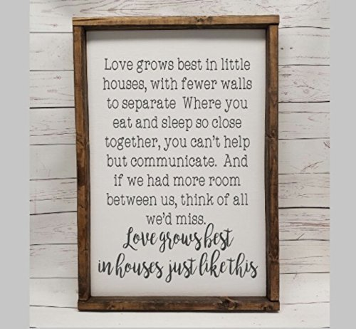 Love grows best in little houses, full quote Sign, Farmhouse style, chunky framed sign. scrabble tile, handpainted sign, choice of sign (Full House Signs)