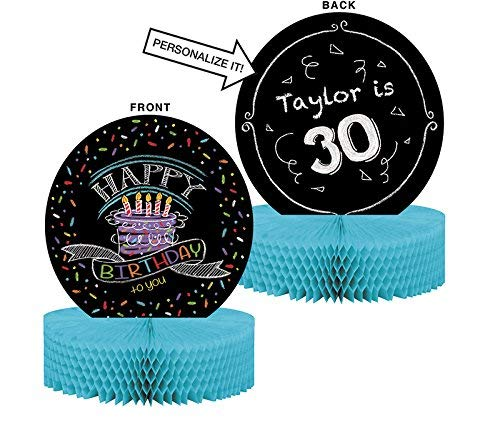 Chalk Birthday Decorations Party Supplies Pack: Straws Banner Hanging Cutouts and Honeycomb Centerpiece Creative Converting